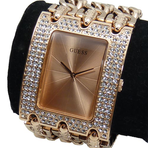 guess ladies watch w0085l3 heavy metal wide rose gold new. Black Bedroom Furniture Sets. Home Design Ideas