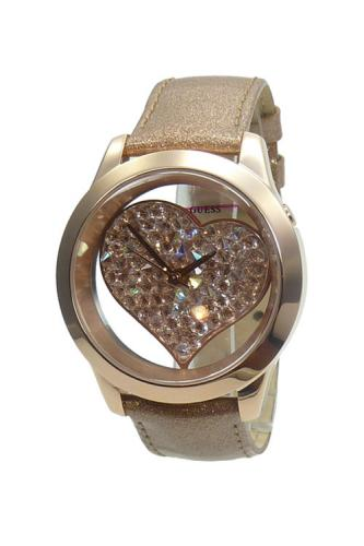 guess damenuhr w0113l3 glitz dial gold leder strass armband uhr herz markenuhr ebay. Black Bedroom Furniture Sets. Home Design Ideas