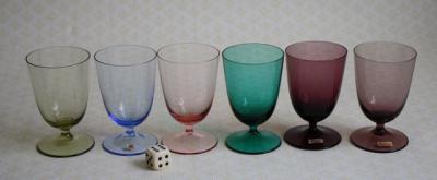 6 gl ser friedrich glas label 50er farbig blau gelb gr n lila rose vintage bunt ebay. Black Bedroom Furniture Sets. Home Design Ideas