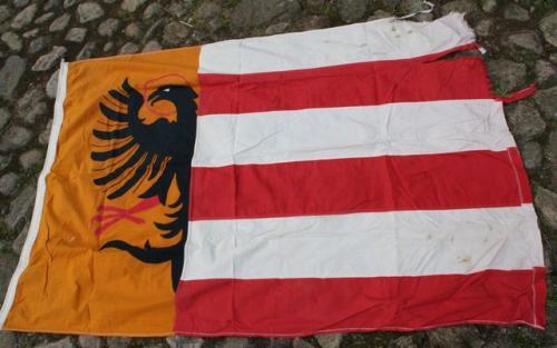 gro e flagge fahne adler rot wei streifen gelb schwarz ungedeutet ebay. Black Bedroom Furniture Sets. Home Design Ideas
