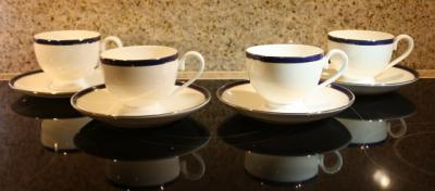 villeroy boch luxembourg kaffeetasse tasse blauer rand wei ebay. Black Bedroom Furniture Sets. Home Design Ideas