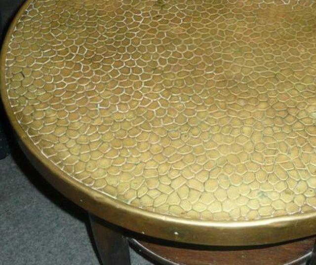 Messingtisch Tisch Art Deco Couchtisch Messingplatte Eiche Rauchtisch ...