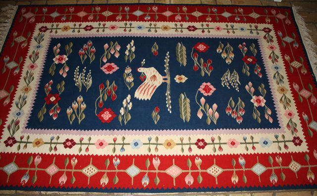 Blumen Teppich Carpet Rug Kelim Handgewebt Türkei 130x215 Mitte 20. Jahrh. Vogel