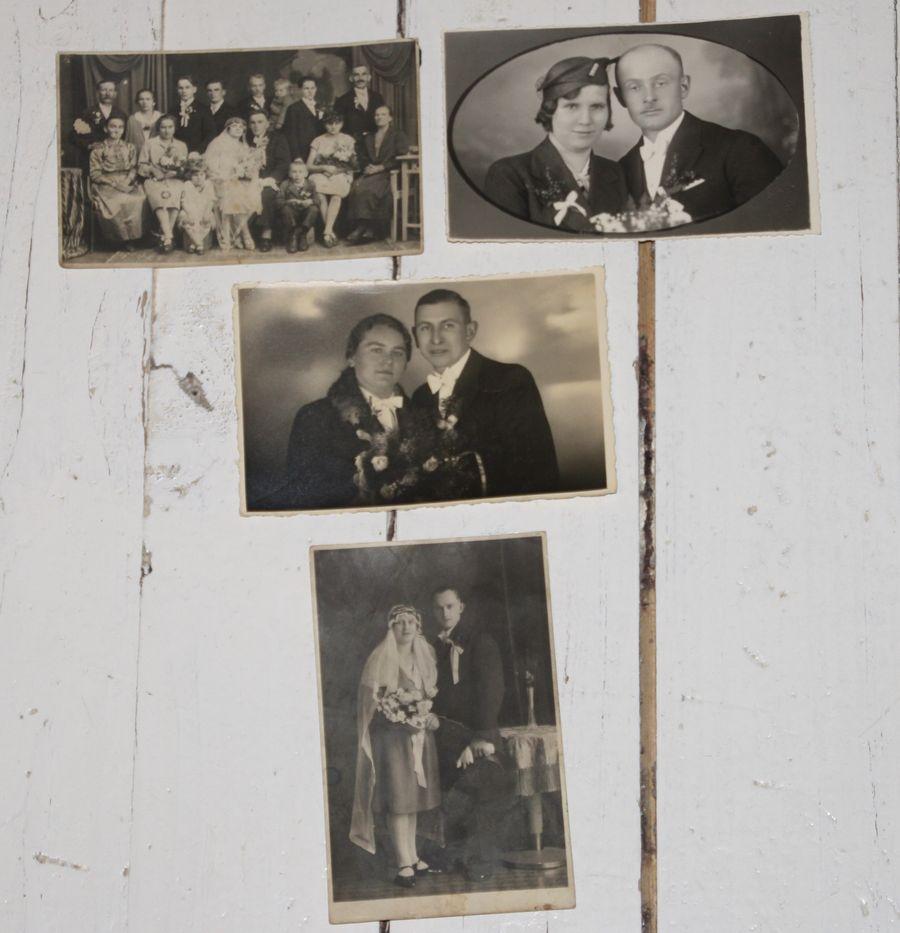 4 x Echtfoto Originalfoto 30er / 50er Fotographie Foto Brautpaar ...