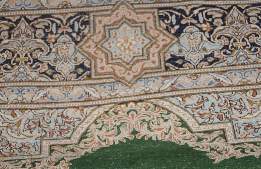 Perserteppich grün  Teppich echt Orient handgeknüpft Orientteppich grün fein geknüpft ...