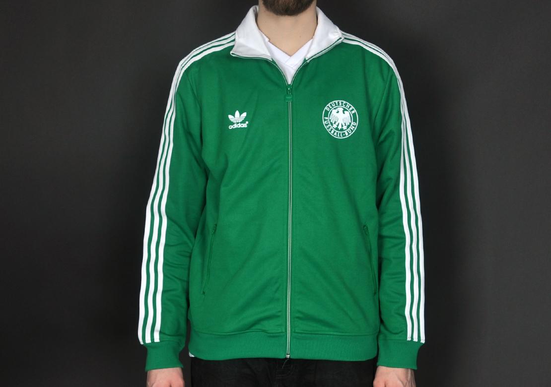 adidas dfb retro deutschland tt jacke grün weiß