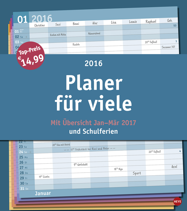 heye kalender familienplaner xxl basic 2016 ebay. Black Bedroom Furniture Sets. Home Design Ideas