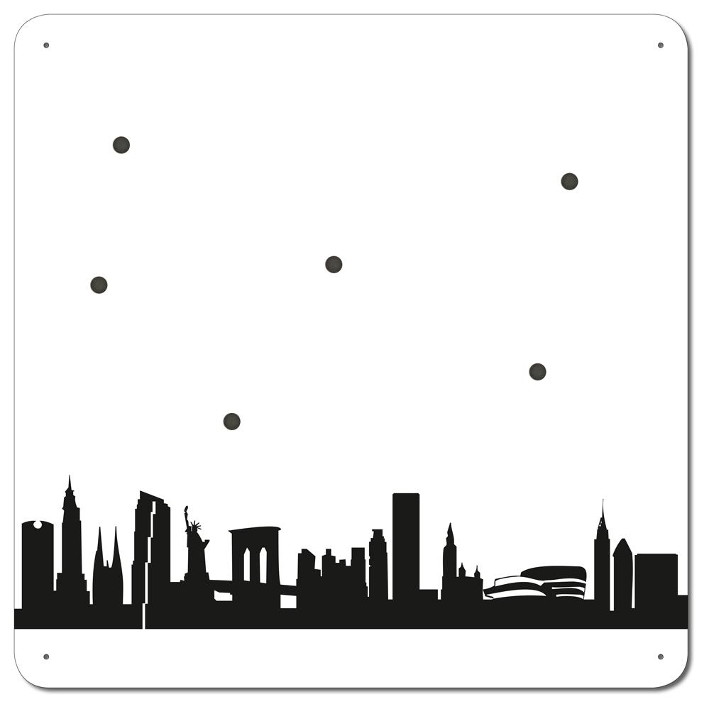 skyline magnetboard new york in wei schwarz ebay. Black Bedroom Furniture Sets. Home Design Ideas