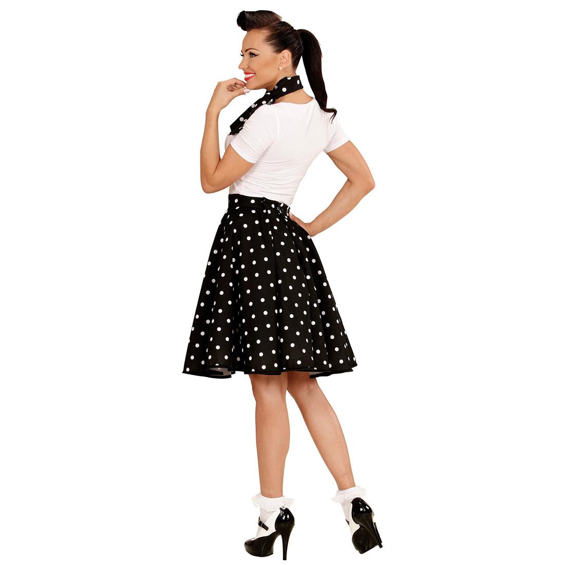 60er jahre tellerrock mit halstuch schwarz petticoat p nktchen rock polka kost m ebay. Black Bedroom Furniture Sets. Home Design Ideas