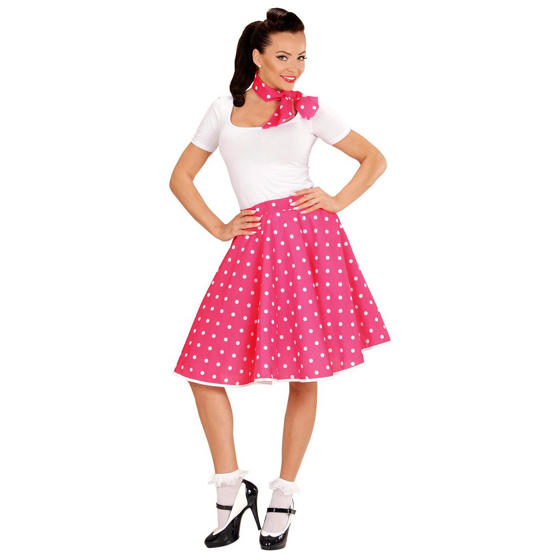 50er jahre damenrock pink tellerrock und halstuch polka. Black Bedroom Furniture Sets. Home Design Ideas