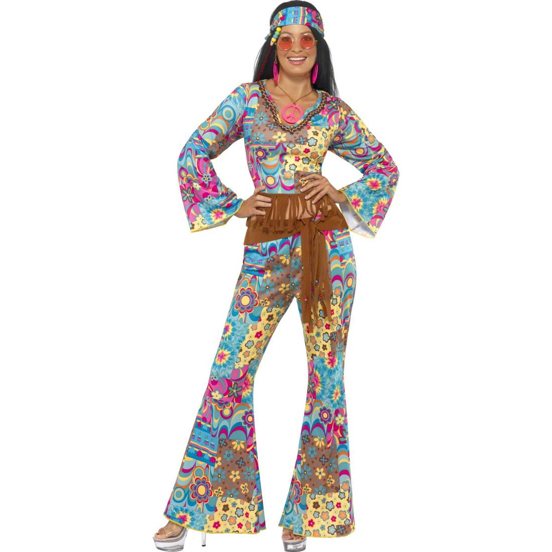 hippie kost m damen 70er jahre outfit flower power. Black Bedroom Furniture Sets. Home Design Ideas