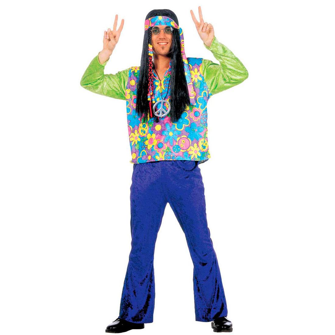 hippie mann kost m hippiekost m flower power gr m 70er jahre herren outfit peace ebay. Black Bedroom Furniture Sets. Home Design Ideas