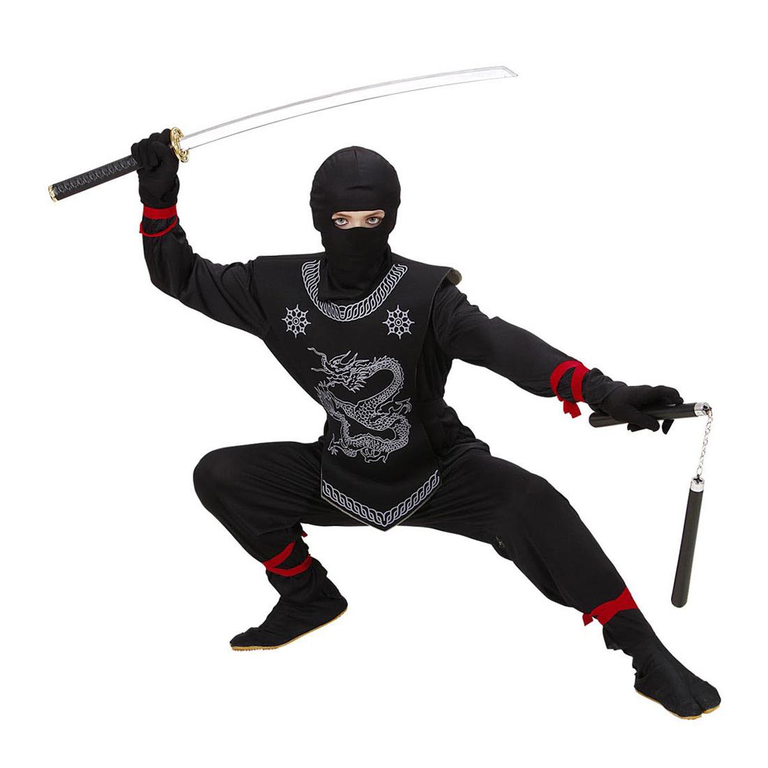 schwarzer ninja kost m kinder ninjakost m samurai kinderkost m anzug k mpfer ebay. Black Bedroom Furniture Sets. Home Design Ideas