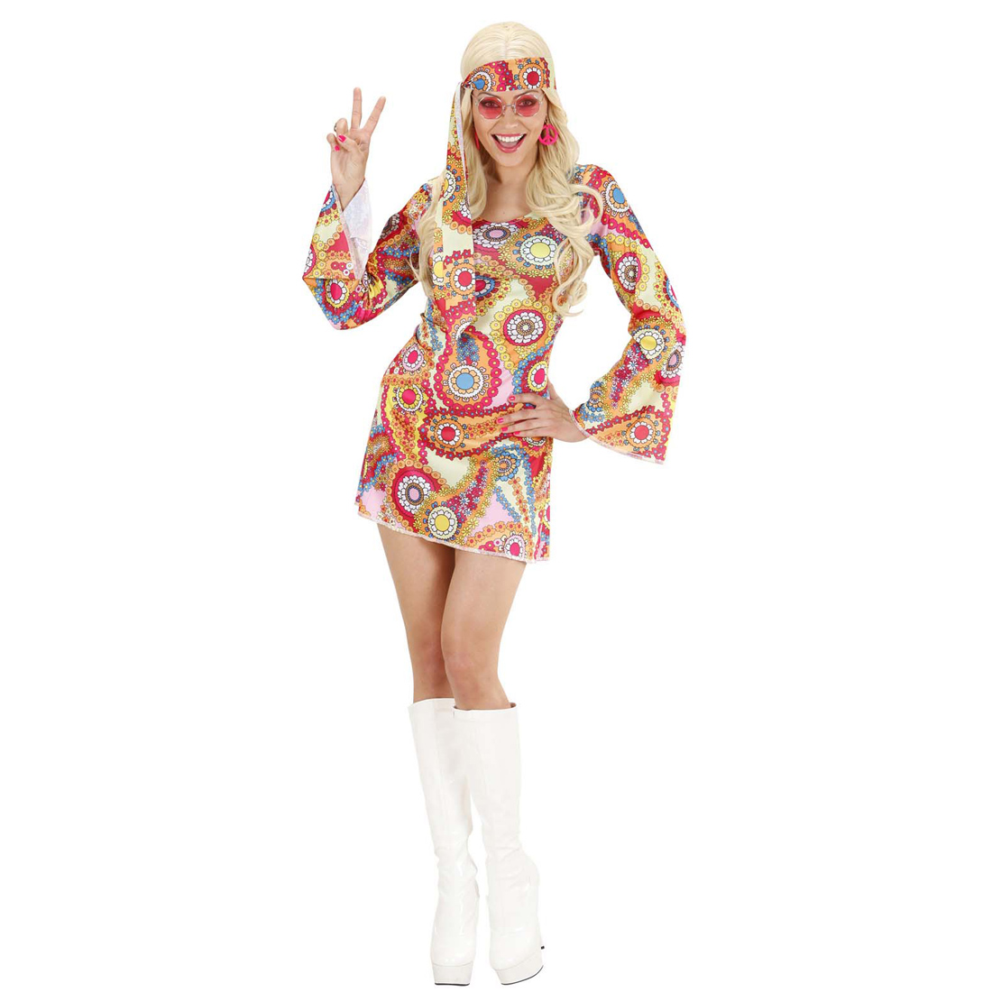 flower power kost m hippie kleid 60er 70er jahre outfit tunikakleid hippiekleid ebay. Black Bedroom Furniture Sets. Home Design Ideas