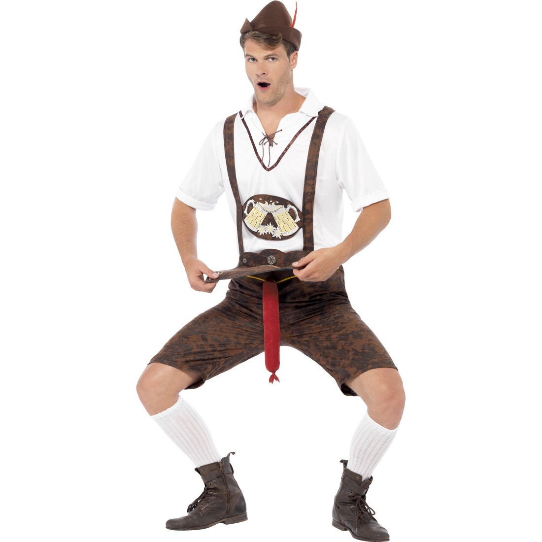 lustiges oktoberfest kost m lederhosen mit bratwurst trachtenkost m lederhose. Black Bedroom Furniture Sets. Home Design Ideas