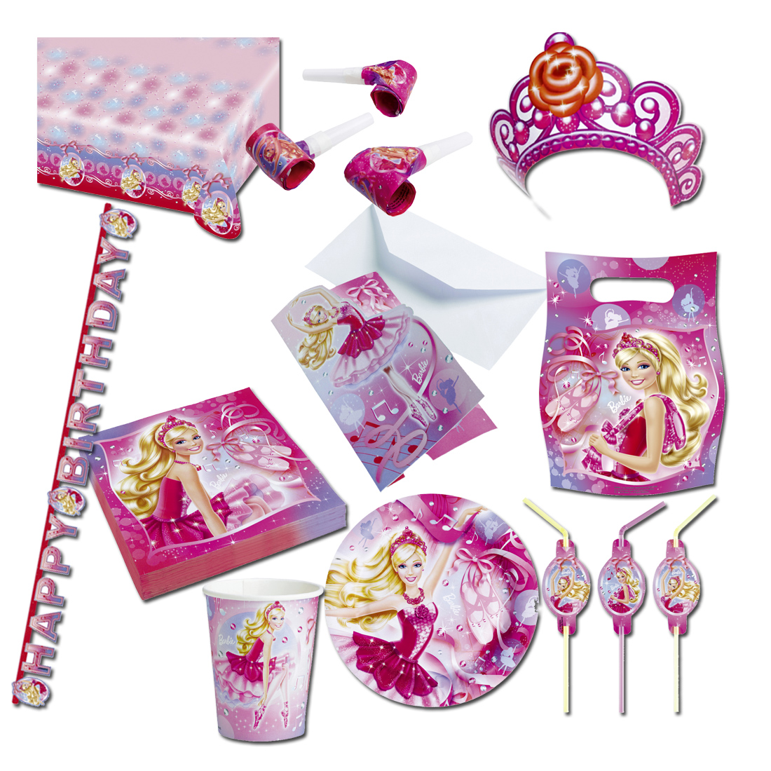 barbie deko set kindergeburtstag partydeko m dchen kinderparty dekoration rosa ebay. Black Bedroom Furniture Sets. Home Design Ideas