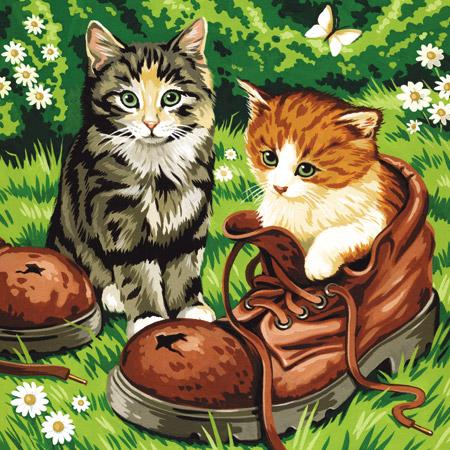 katzen und hund doppelset malen nach zahlen vorlage