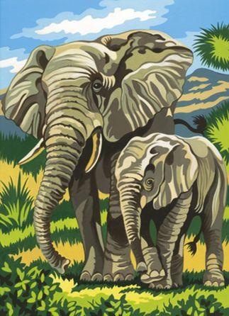 Elefanten - Malen nach Zahlen Mammut Vorlage Malvorlage Tiere eBay