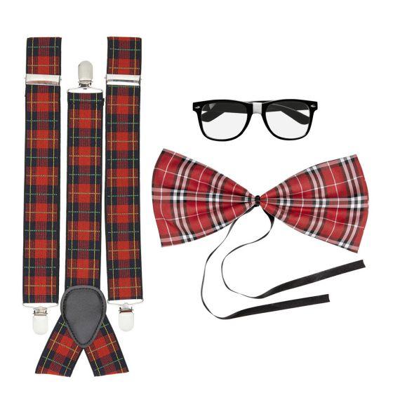 nerd kost m set streber verkleidung kariert geek bad taste outfit nerdkost m ebay. Black Bedroom Furniture Sets. Home Design Ideas