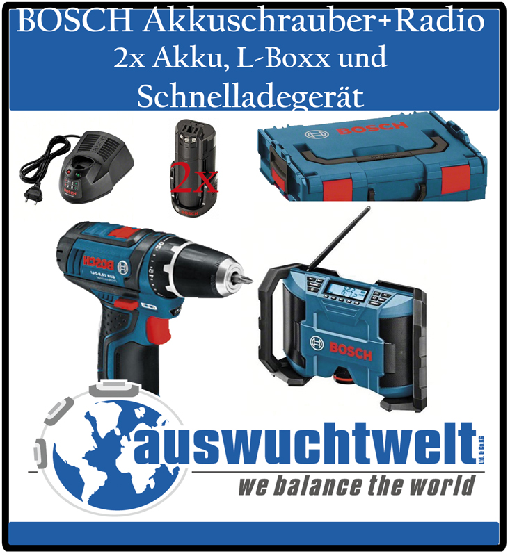 bosch gsr 10 8 2 li professional akkuschrauber inkl gml baustellen radio l boxx. Black Bedroom Furniture Sets. Home Design Ideas