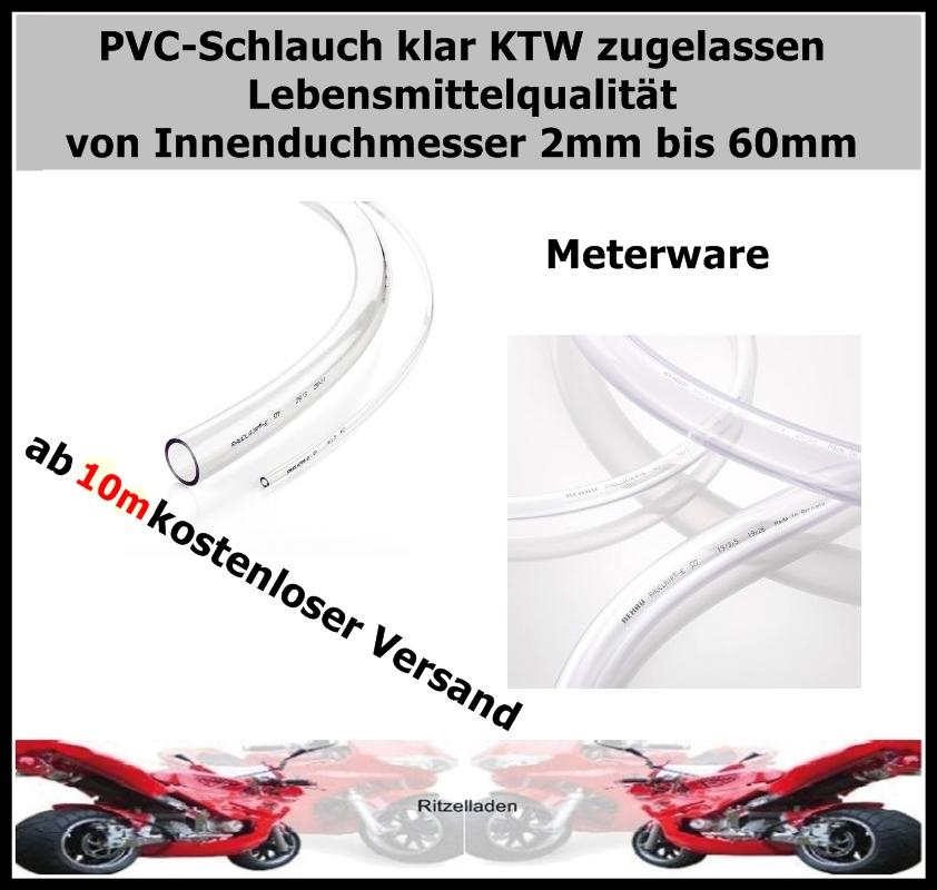PVC SCHLAUCH KLAR METERWARE WASSERSCHLAUCH LUFTSCHLAUCH 4//6mm TOP !!!!!