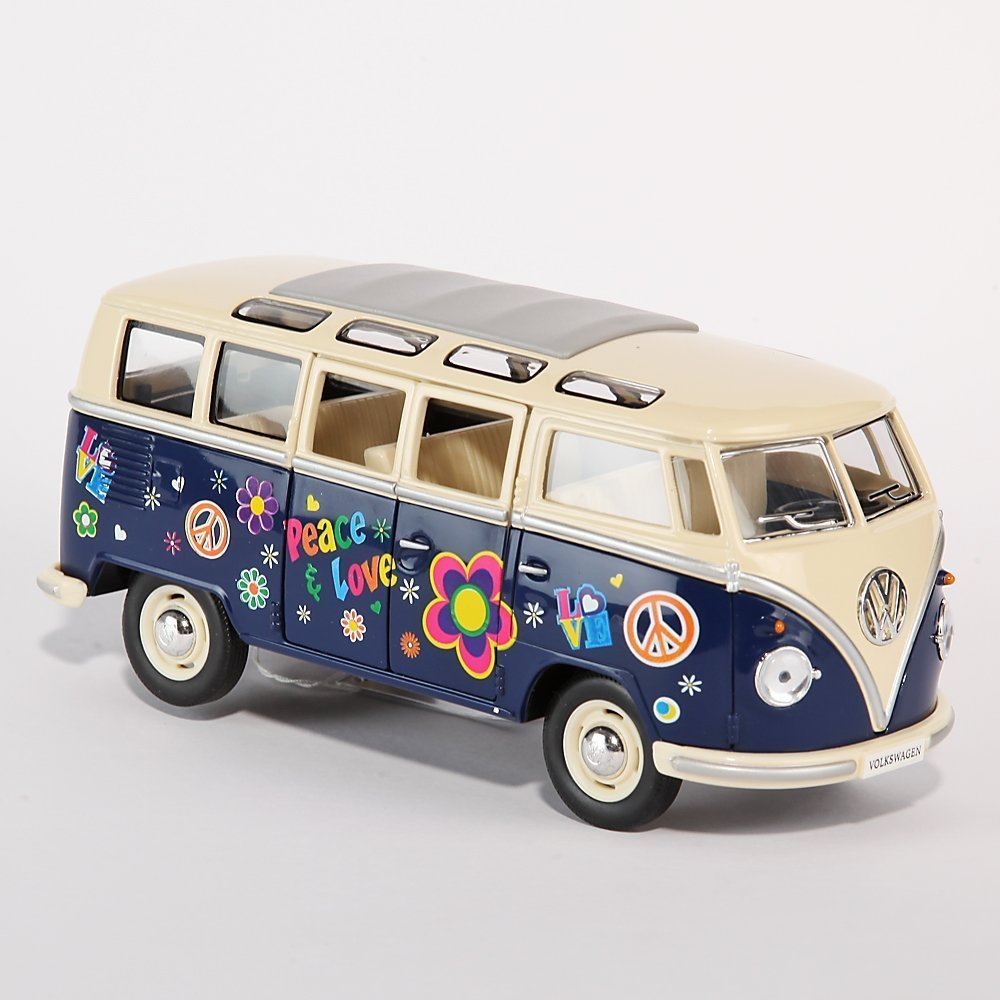 modellauto volkswagen microbus mit druck hippie vw bus 1. Black Bedroom Furniture Sets. Home Design Ideas