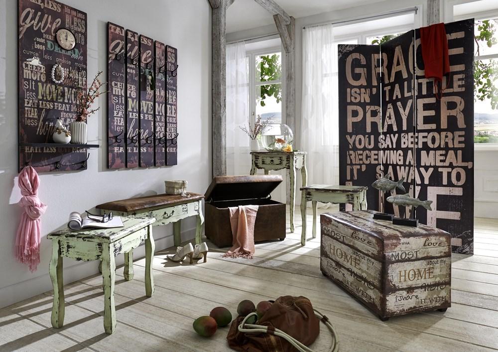 haku wandgarderobe garderobe mit schriftzug in vintage optik 10 garderobenhaken ebay. Black Bedroom Furniture Sets. Home Design Ideas