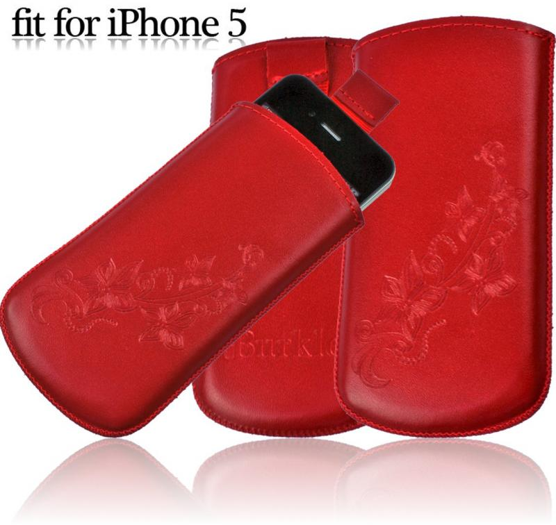 burkley echt leder handytasche rot f r iphone 5 etui case. Black Bedroom Furniture Sets. Home Design Ideas