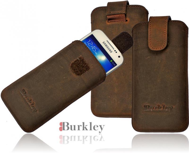 burkley premium lederh lle samsung galaxy s4 mini i9190 handytasche coffeebraun ebay. Black Bedroom Furniture Sets. Home Design Ideas