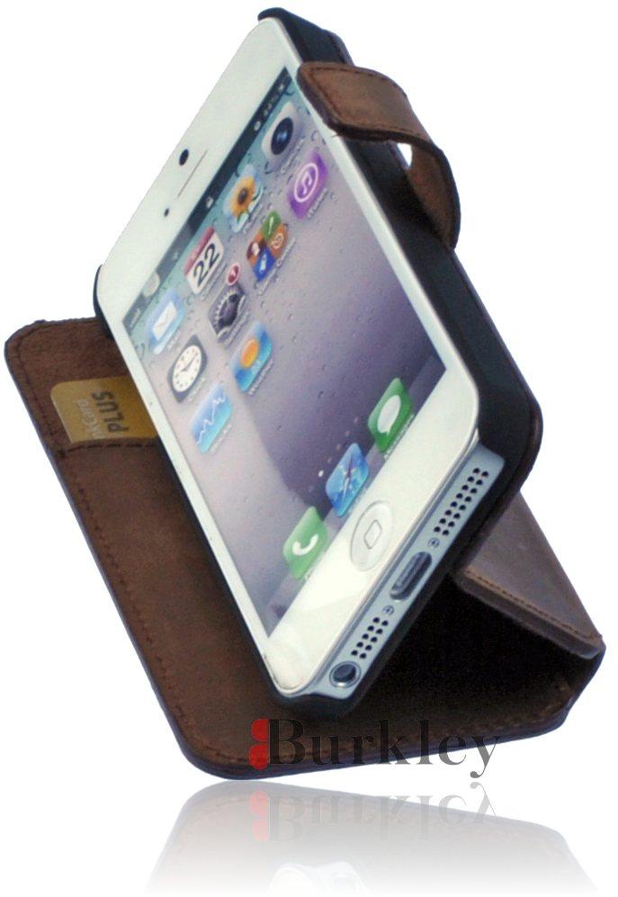 burkley antik leder flip tasche f r iphone 5 flip case. Black Bedroom Furniture Sets. Home Design Ideas