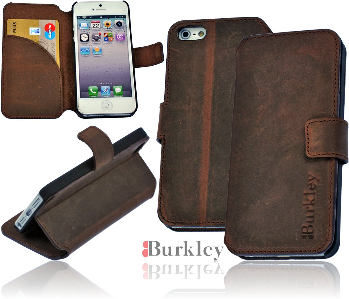 burkley antik leder flip tasche f r iphone 5 5s flip case. Black Bedroom Furniture Sets. Home Design Ideas