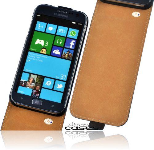 Premium Flip Handytasche schwarz für Samsung Ativ S i8750 Case Schutzhülle Cover
