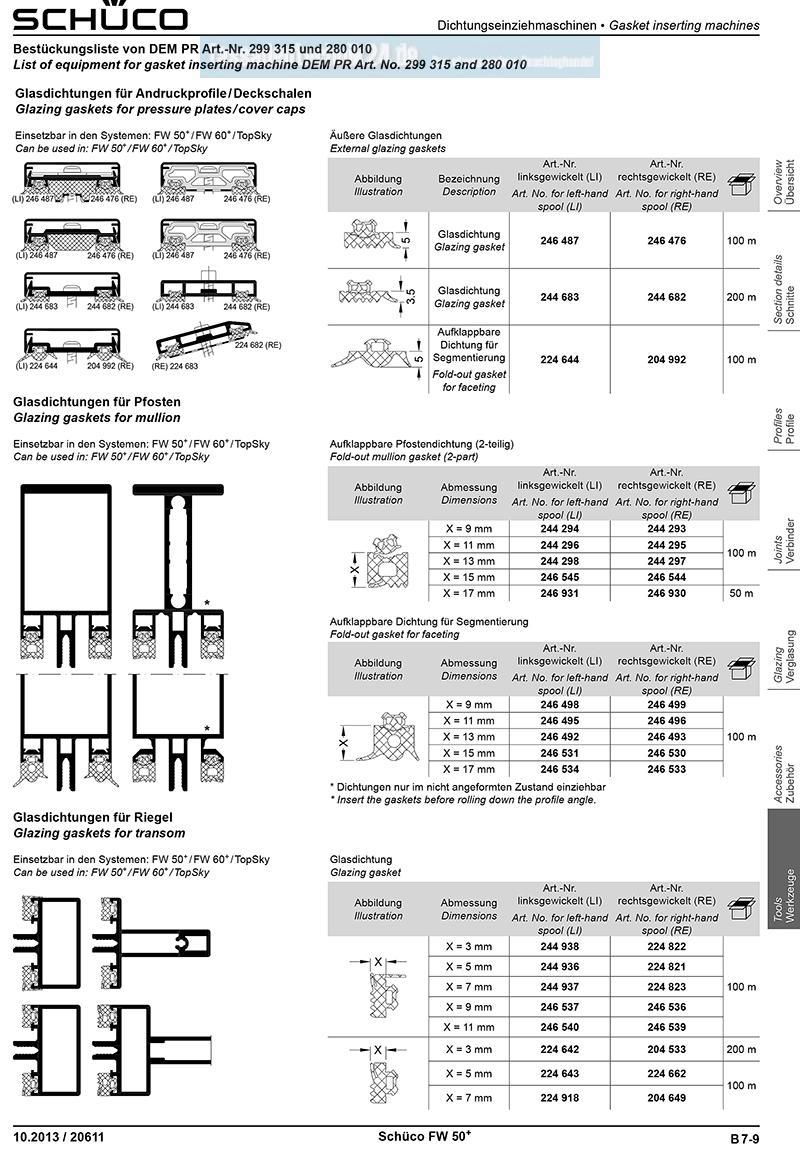 preis pro meter sch co fw 50 fw 60 glasdichtung nr 224644. Black Bedroom Furniture Sets. Home Design Ideas