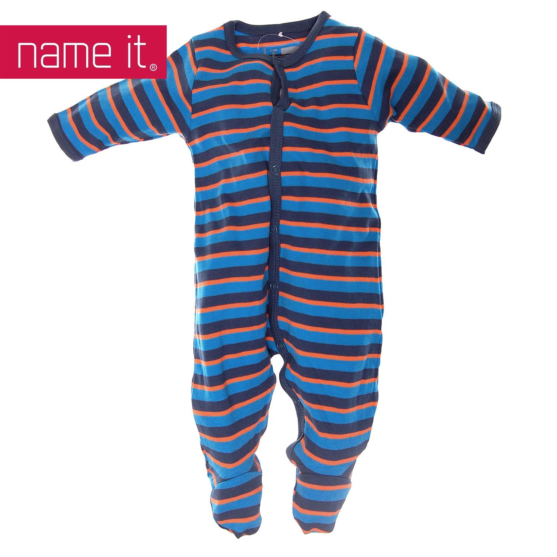 neu name it baby kinder schlafanzug einteiler dunkle streifen jungs ebay. Black Bedroom Furniture Sets. Home Design Ideas