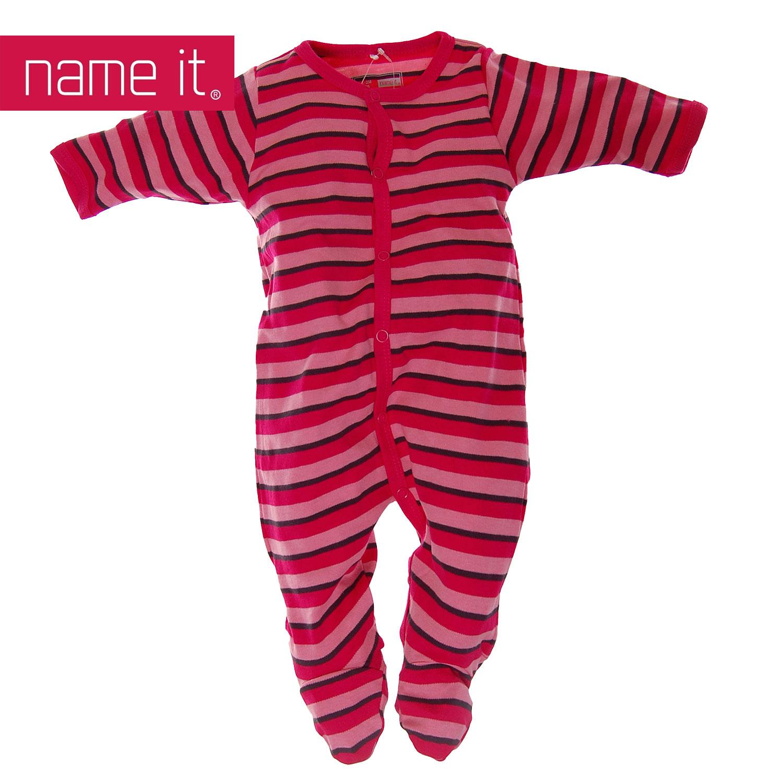 neu name it m dchen baby kinder schlafanzug einteiler dunkle streifen ebay. Black Bedroom Furniture Sets. Home Design Ideas