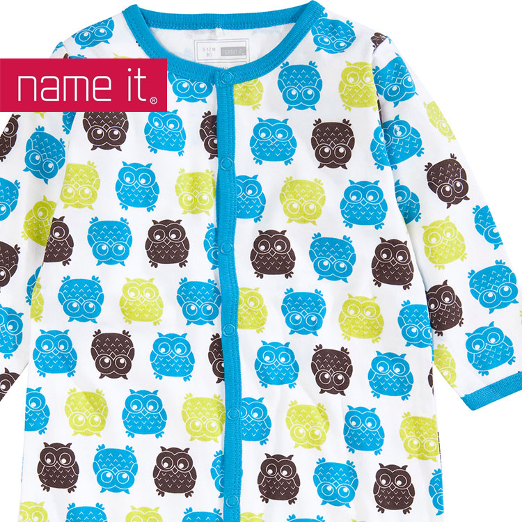 name it baby kinder schlafanzug einteiler eule gr 68 98 ebay. Black Bedroom Furniture Sets. Home Design Ideas