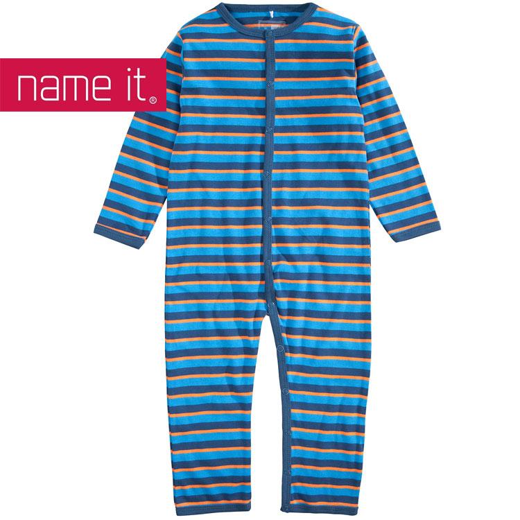 name it baby kinder schlafanzug einteiler streifen marine blau orange ebay. Black Bedroom Furniture Sets. Home Design Ideas