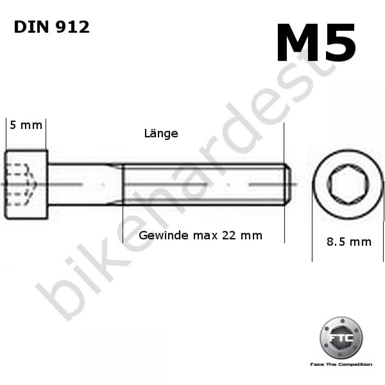 Titan M8 x 15 Schraube DIN912 konisch schwarz Innensechskant Ti