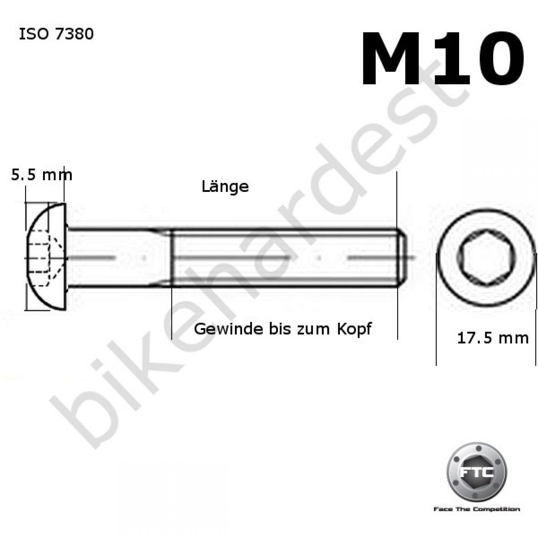 Gr5 1x Titanschraube M10 x 45 mm DIN912 konischer Kopf 1.25 Gewinde