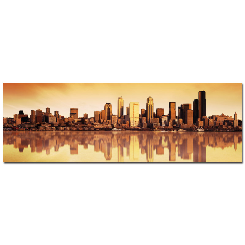 50x150cm usa new york golden skyline canvas keilrahmenbild. Black Bedroom Furniture Sets. Home Design Ideas