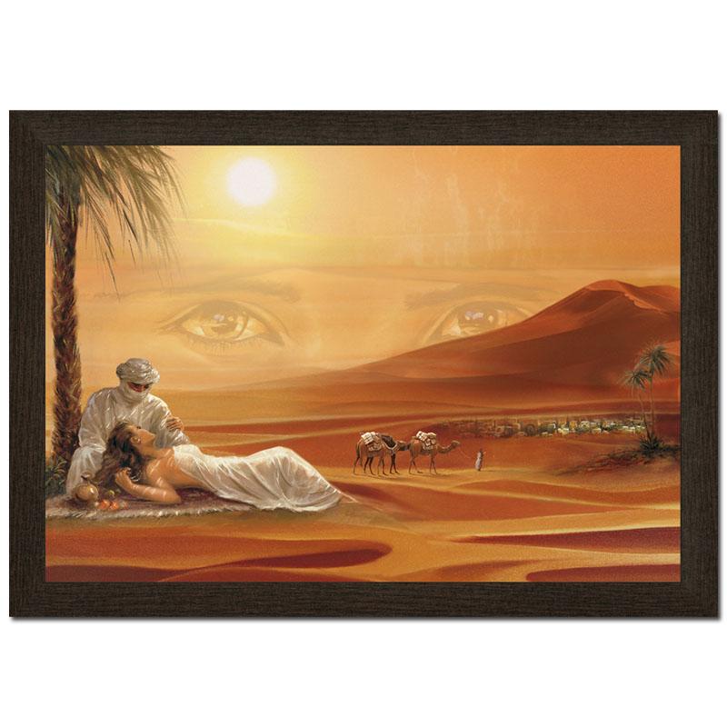 3D 50x70cm Wandbild Orient Wüste Liebespaar Kunstdruck ...