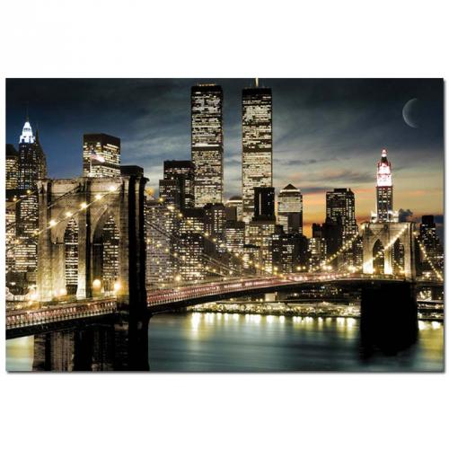 USA-New-York-Brooklyn-Bridge-Skyline-Twin-Towers-Kunstdruck-Poster-Bild-61x91-5