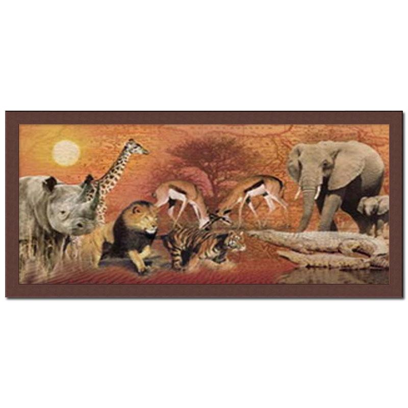 bild mit rahmen poster kunstdruck tiere afrika l we elefant giraffe l we ebay. Black Bedroom Furniture Sets. Home Design Ideas