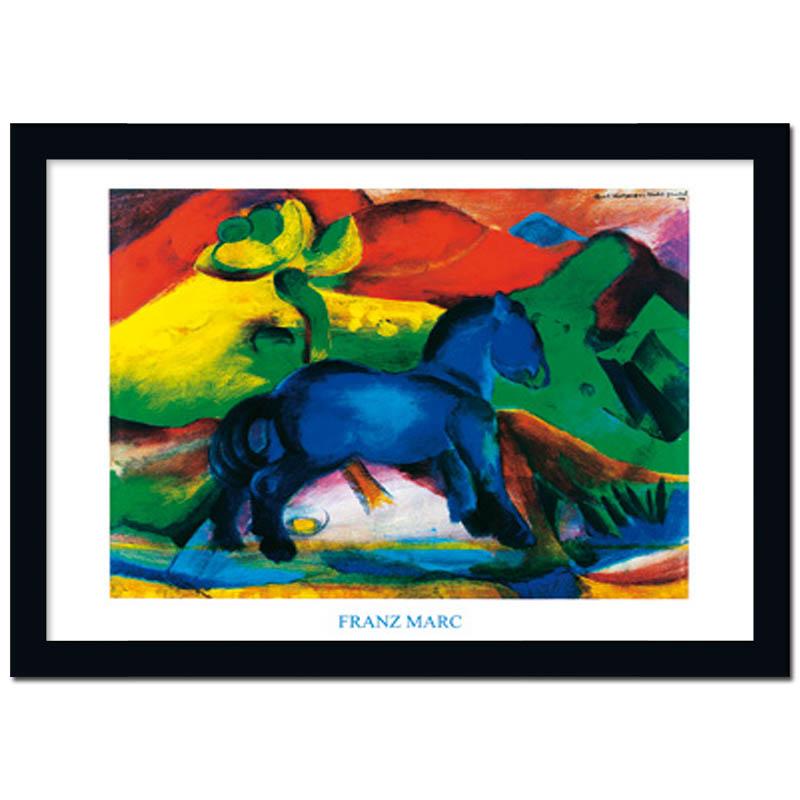 bild mit rahmen poster kunstdruck blaues pferdchen franz marc ebay. Black Bedroom Furniture Sets. Home Design Ideas