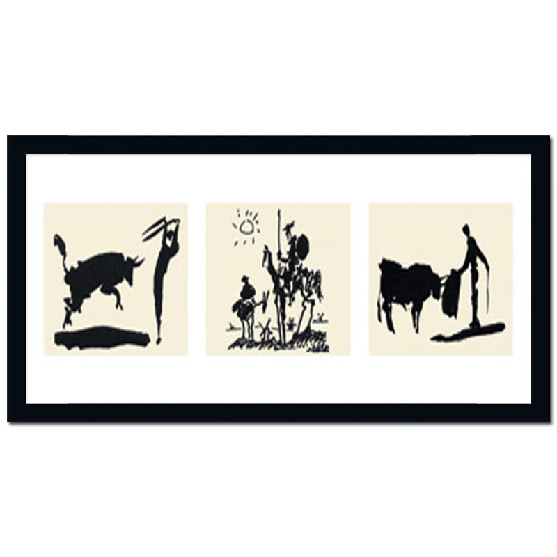 bild mit rahmen poster kunstdruck picador bullfighter don quixote pablo picasso ebay. Black Bedroom Furniture Sets. Home Design Ideas