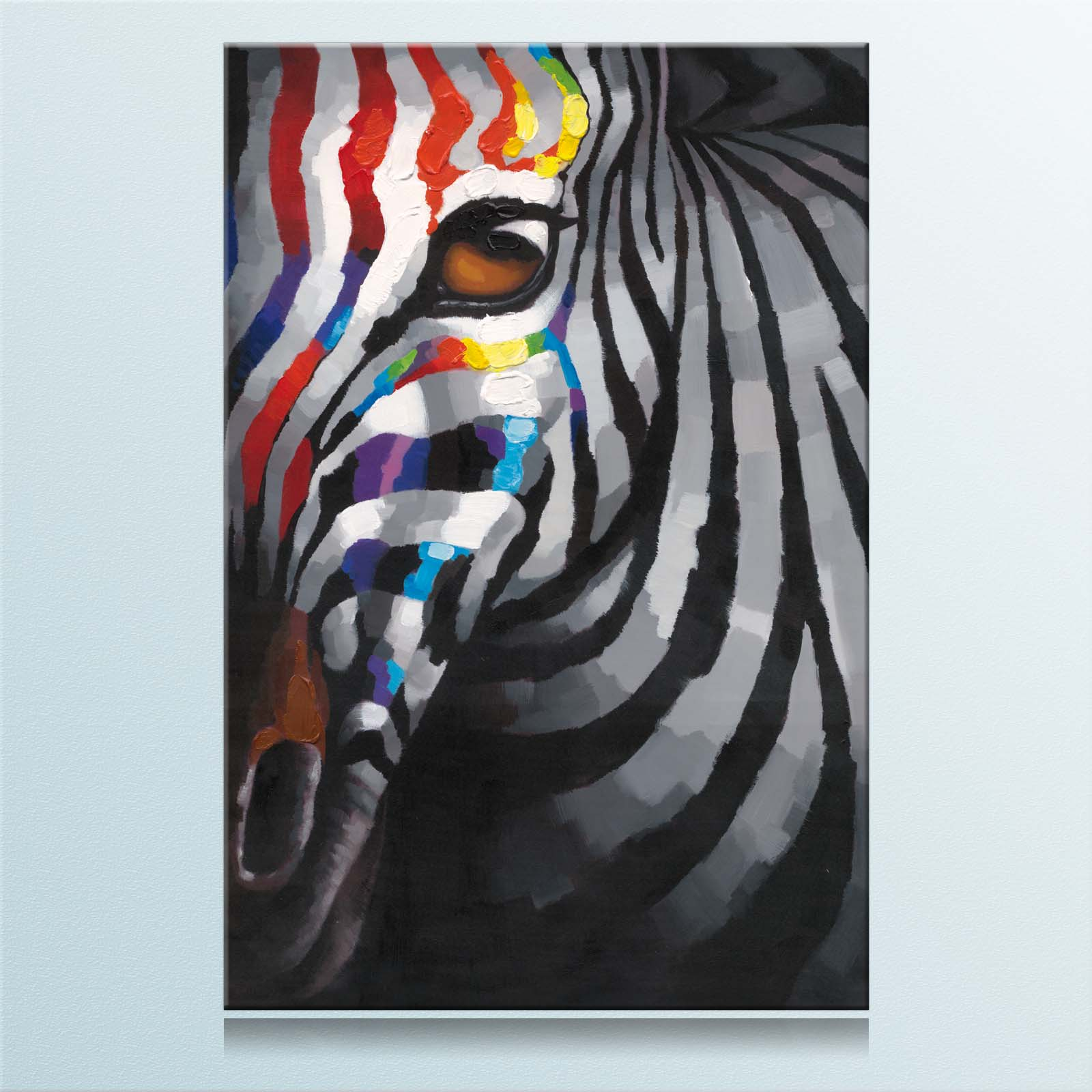 60x90cm zebra auge bunt keilrahmenbild canvas leinwand bild ebay. Black Bedroom Furniture Sets. Home Design Ideas