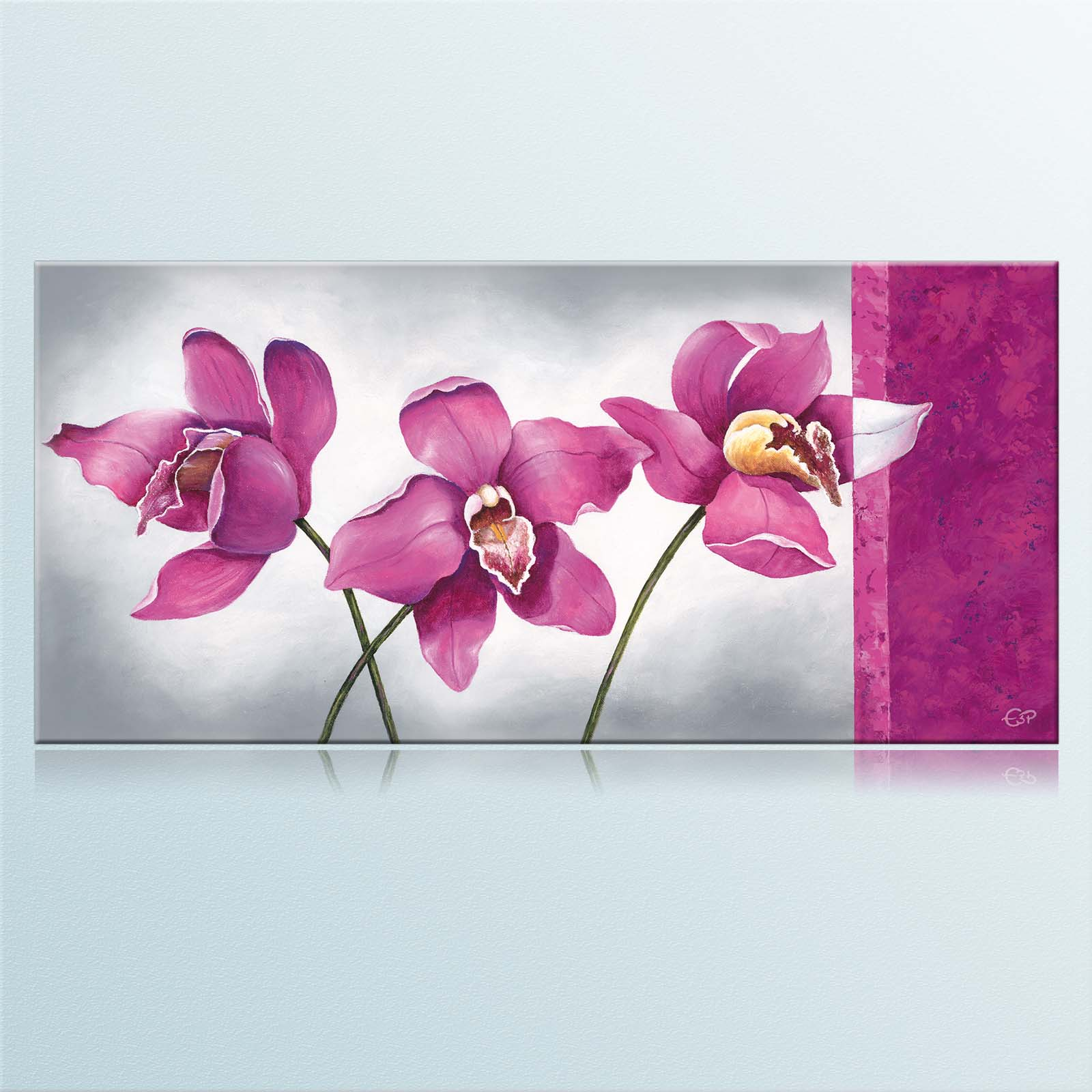 33x70cm orchidee lila grau keilrahmenbild canvas leinwand bild ebay. Black Bedroom Furniture Sets. Home Design Ideas