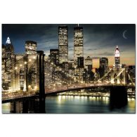 USA New York Brooklyn Bridge Skyline Twin Towers Kunstdruck Poster Bild 61x91,5