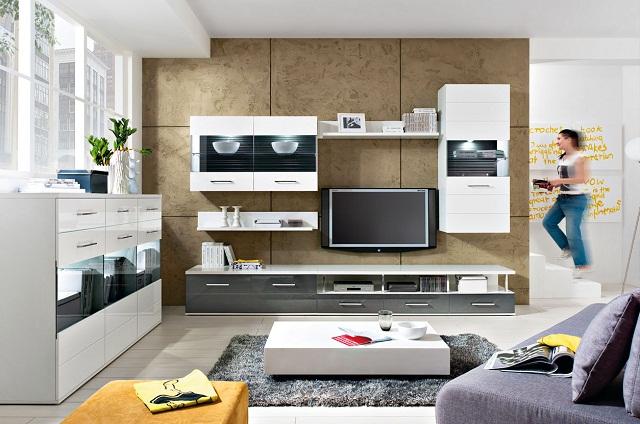 wohnzimmer wohnwand avila (6 tlg) weiß/ weiß/grau hochglanz living ... - Wohnzimmer Hochglanz Grau