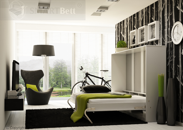 schrankbett klappbett wandbett smartbett querbett horizontal wei ebay. Black Bedroom Furniture Sets. Home Design Ideas